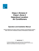 Class I Division 2 Hazardous Location Air Conditioners